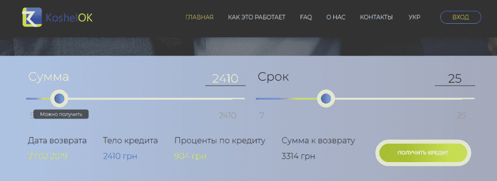 KoshelOK (КошельОК) кредит онлайн на карту