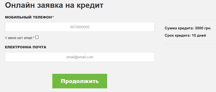 СЛІ онлайн заявка на кредит